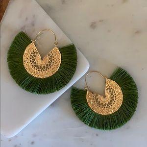BOGO! Green Fan Fringe Earrings